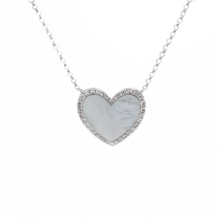 Gargantilha Coração em Madrepérola com Diamantes em Ouro Branco