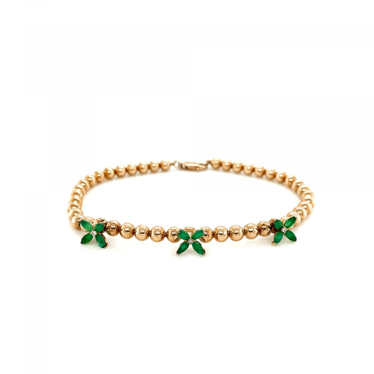 Pulseira Bloom com Esmeraldas em Ouro Amarelo
