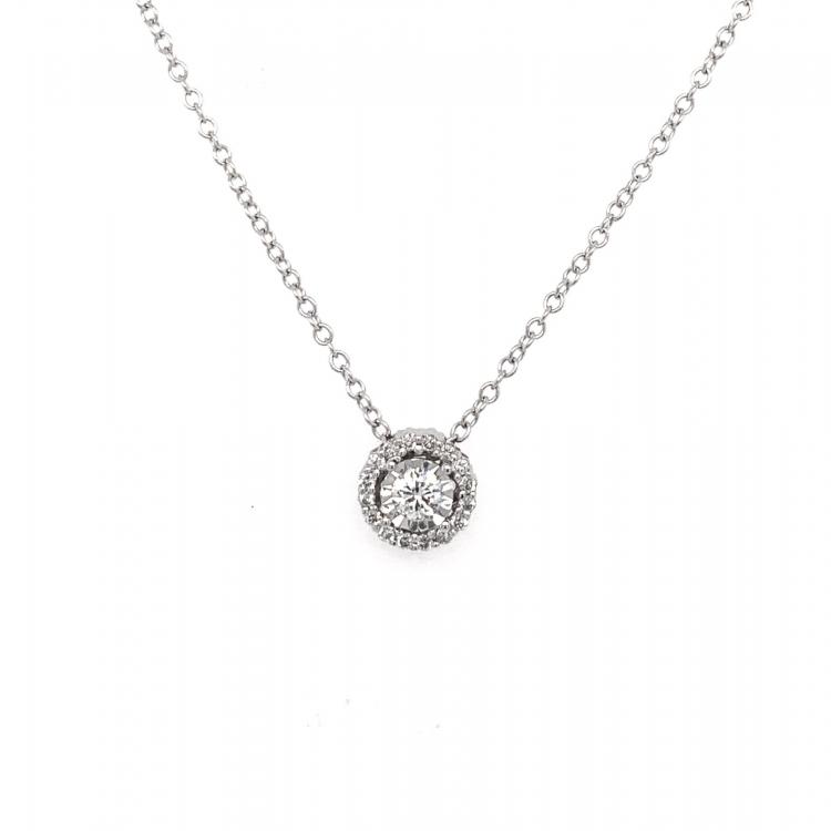 Gargantilha Halo com Diamantes em Ouro Branco