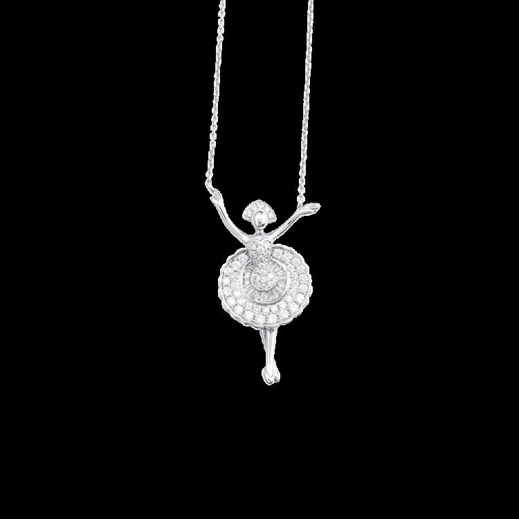 Gargantilha Bailarina com Diamantes em Ouro Branco