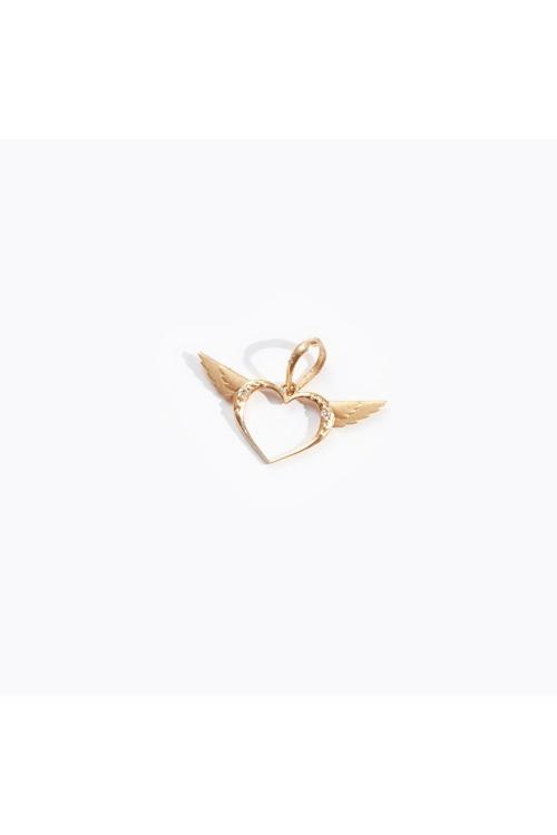 Pingente Coração Alado em Ouro Amarelo