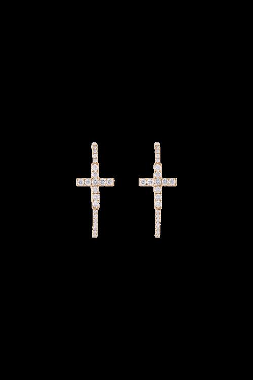 Brinco Cruz com Diamantes em Ouro Amarelo